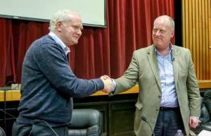 Martin McGuinness and Britain's chief constable in the six counties George Hamilton
