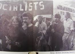 Peter holding Young Socialists banner, Dublin 1968