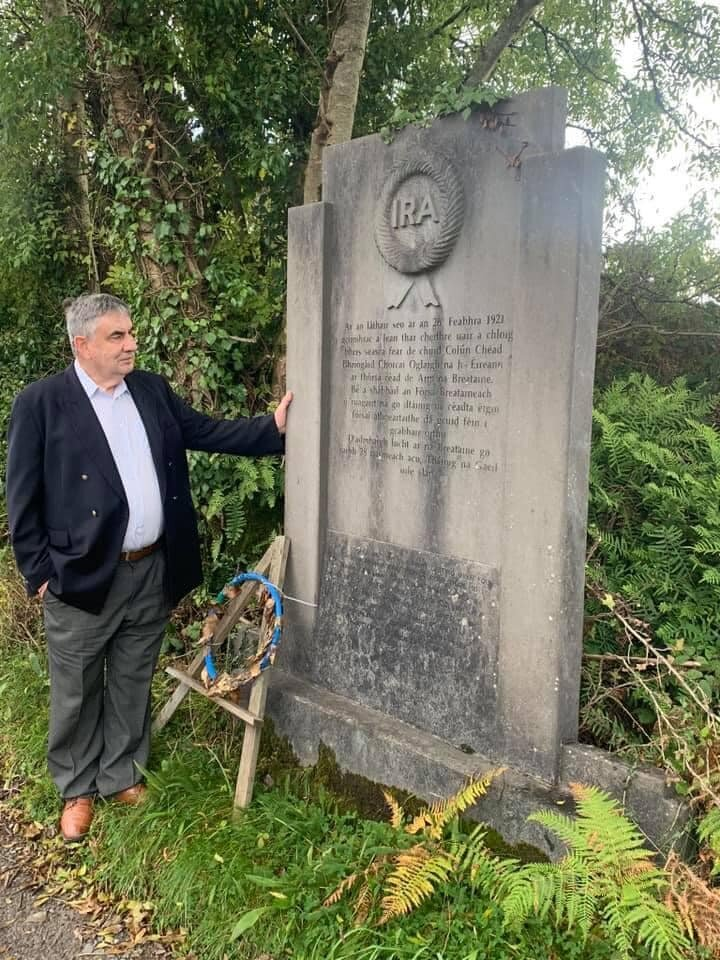 Donal Ó Sé pictured in 2019 at the republican monument at the Cúl na Cathrach ambush site at Baile Mhic Íre